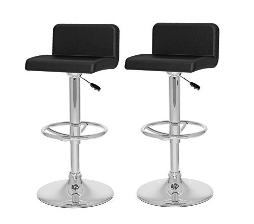 - Deluxe Premium Collection Low Back Adjustable Bar Stool Black Leatherette Set of 2 Decor Comfy Living Furniture