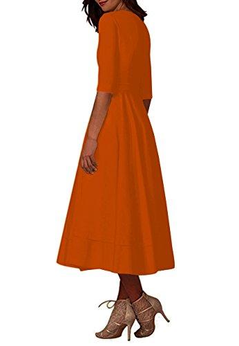 Cóctel Naranja Tamaño de Mujeres Honor de Profundas Dama de Cuello Banquete en Fiesta Más V OMZIN Vestidos Vestido qf4TXww