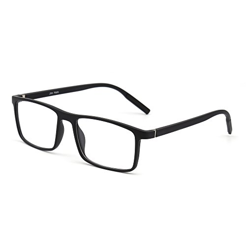 Retro Optical TR Frame Lightweight Spring Hinge Clear Lens Glasses Men Women (Black/Clear) - Black Optical Frame
