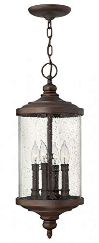 Hinkley 1752VZ Traditional Four Light Hanging Lantern from Barrington collection in Bronze/Darkfinish,