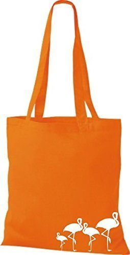 ShirtInStyle Bolso de tela Bolsa de algodón lustige Animales Flamingo Naranja