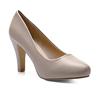 Trary Women's High Heel Dress Platform Pump Shoes Taupe PU 05