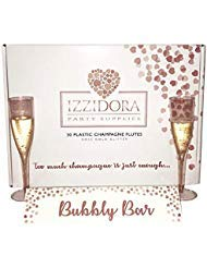 (30 Premium ROSE GOLD Glitter Plastic Champagne Flutes 6.5 oz Tall Elegant Wedding Party Toasting Glasses +Bonus Bubbly Bar Sign - Clear Glass like Classicware cups Soda Mimosas Wine Cocktail)