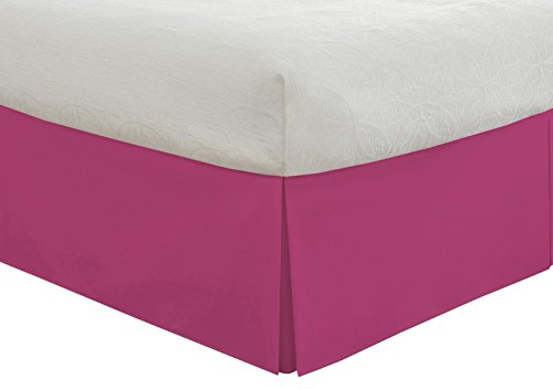 """Pink Twin Dust Ruffle (Lux Hotel Bedding Tailored Bed Skirt, Classic 14"""" Drop Length, Pleated Styling, Twin, Pink)"""