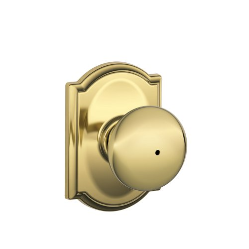 - Schlage F40 PLY 605 CAM Camelot Collection Plymouth Privacy Knob, Bright Brass