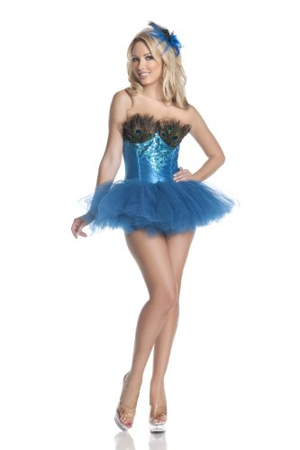 Mystery House Peacock Costume, Turquoise, Small (Adult Peacock Tutu)