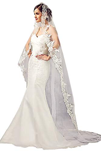 Babyonline Lace Edge Cathedral Length Wedding Bridal Veil,White