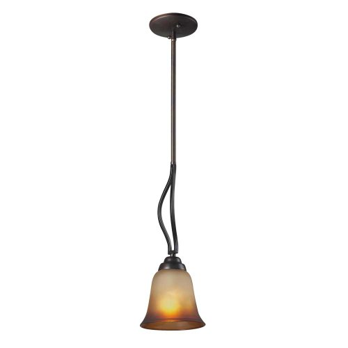Elk 11531/1 Malaga 1-Light Pendant with Antique Amber Glass Shade,