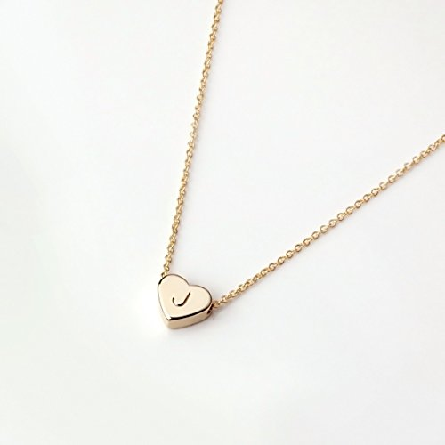 Heart Initials Necklace - Dainty Jewelry Gold Initial Necklace Valentine's Day Gifts for Her Personalized Necklace Heart Necklace - FHN (J)