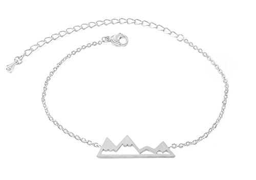 (Altitude Boutique Mountain Bracelet, Mountain Jewelry, Snowy Peaks Bracelet for Nature Lovers, Skiers, Hikers, Campers (Silver))