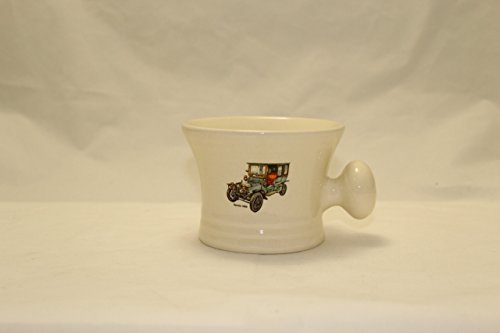 One Of Six Vintage Car White Shaving Soap Bowl  Graphics May Vary From Illustrations  Handmade In The Usa  Beautiful Gift