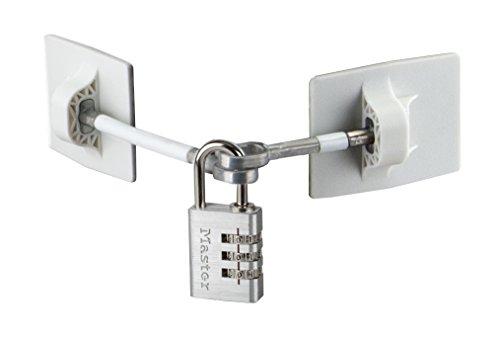 Refrigerator Door Lock with Combination Padlock - White (Silver Combination Lock)