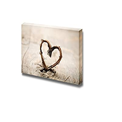 Canvas Prints Wall Art - Close Up of Heart Made from Willow Vintage/Retro Style | Modern Wall Decor/Home Decoration Stretched Gallery Canvas Wrap Giclee Print & Ready to Hang - 16