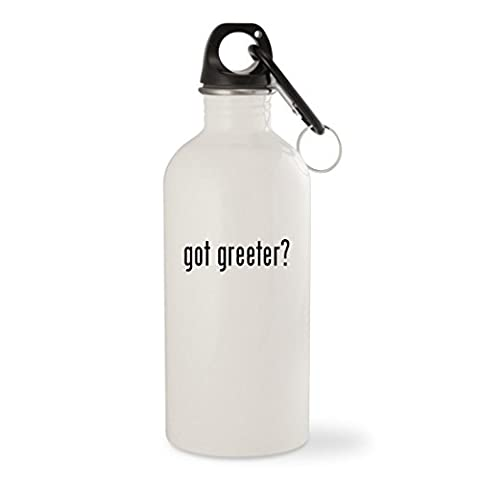 got greeter? - White 20oz Stainless Steel Water Bottle with Carabiner (Plush Porch Greeter)