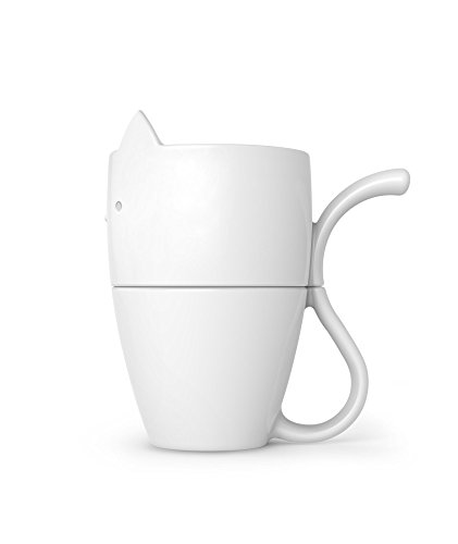 Fred 5229133 Purr Over Cat-Style Porcelain Pour Over Coffee Brewer, White by Fred & Friends (Image #2)