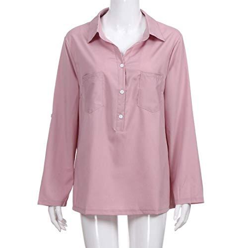 Pocket T Blouse Longues Jupes Blouse Manches Automne Chemises Tops S Printemps 5XL Tops Femmes HENPI Blouse Shirt Loose Occasionnels Soild Rose lgantes waUqXXzx