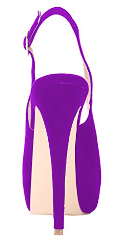 Suede Party Heels Purple Platform Pumps High Slingback Hidden Womens With AOOAR wqFfPxvf