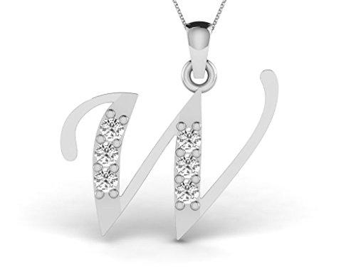 Or Blanc 18 ct Pendentifs Diamant en forme de Alphabet W, 0.13 Ct Diamant, GH-SI, 0.58 grammes.