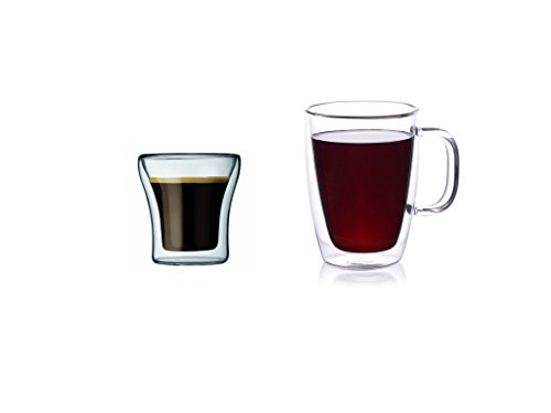 CoastLine Double Wall Glass Coffee Mug & Espresso Glass Set | Includes Pair of Glass Handled Mugs and Pair of Espresso Glasses | Espresso Shot Glass (2) & Durable Mug - Frames Bottomless Glasses