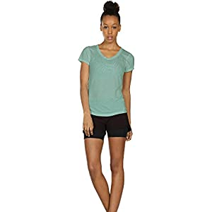 icyzone Activewear Fitness Yoga Tops Workout V Neck Open Back T-Shirts For Women(S,Black/Agate Green)
