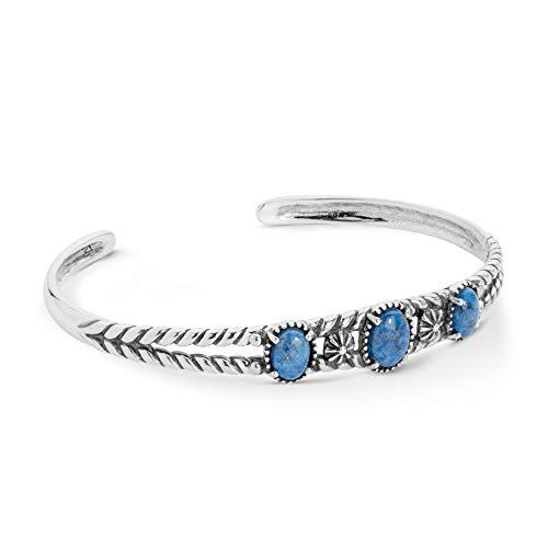 American West Sterling Silver Blue Denim Lapis Gemstone Three Stone Friendship Cuff Bracelet Size Small