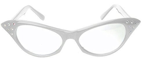 Hip Hop 50s 60s Womens Cat Eye Rhinestone Glasses (white, clear) (Fifties Cat Eye Rhinestone Glasses)