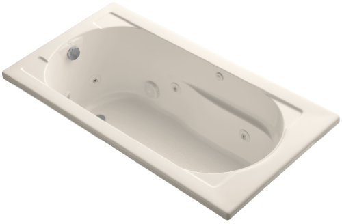 KOHLER K-1357-H-55 Devonshire 60-Inch X 32-Inch Drop-In Whirlpool Bath with Reversible Drain and Heater, Innocent Blush (Finish Whirlpool Tub Reversible Bath)