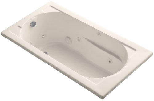 KOHLER K-1357-H-55 Devonshire 60-Inch X 32-Inch Drop-In Whirlpool Bath with Reversible Drain and Heater, Innocent (Kohler K-1357 Devonshire Fixtures)