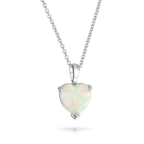 1CT Solitaire White Prong Set Created Opal Heart Shape Pendant Necklace For Women 925 Sterling Silver October ()