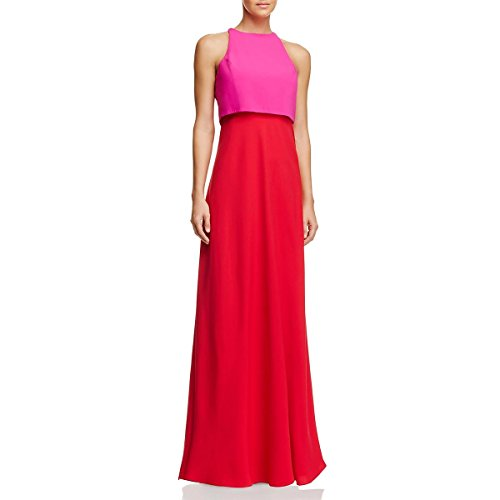 Colorblock Gown (Jill Jill Stuart Womens Colorblock Flyaway Back Evening Dress Red 2)
