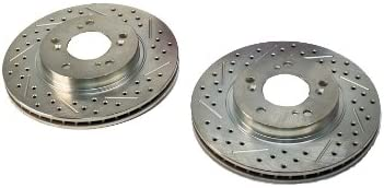BAER 55034-020 Sport Rotors Slotted Drilled Zinc Plated Front Brake Rotor Set Pair