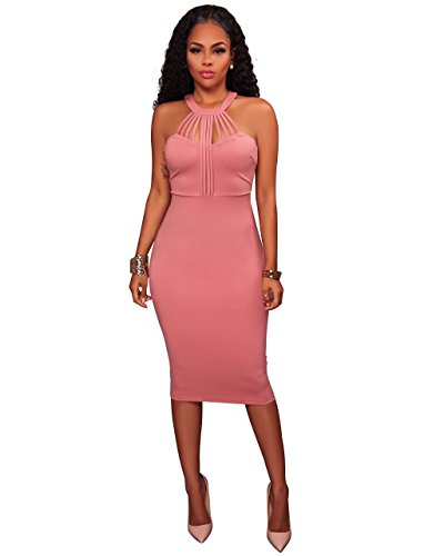 Women's Sexy Halter Off Shoulder Sleeveless Bandage Bodycon Party Club Midi Dress Pink, - Dress Phat Womens Baby