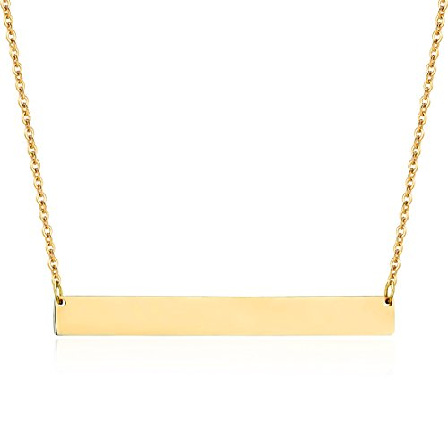 Lazycat Stainless Steel 18K Plated Bar Necklace with Engravable Bar Pendant (Plated Necklace)