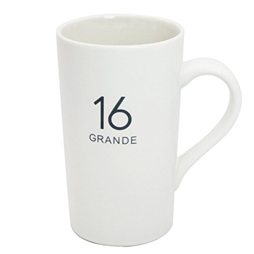 Momugs Number Pattern Simple Pure Large Milk Mug, Tall White Ceramic Coffee Cup, 16 oz