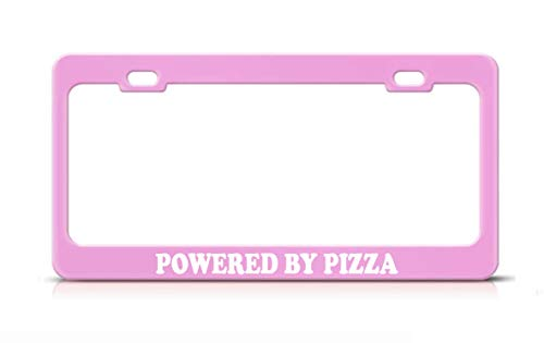 Product Express Powered by Pizza Funny Inspiring License Plate Frame Soft Pink Steel Metal Tag Cover