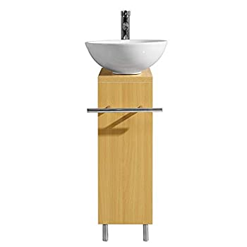 Image of Home Improvements Tonyrena Modern Wood Color Bathroom Vanity with Ceramic Vessel Sink,Faucet and Pop Up Drain Combo