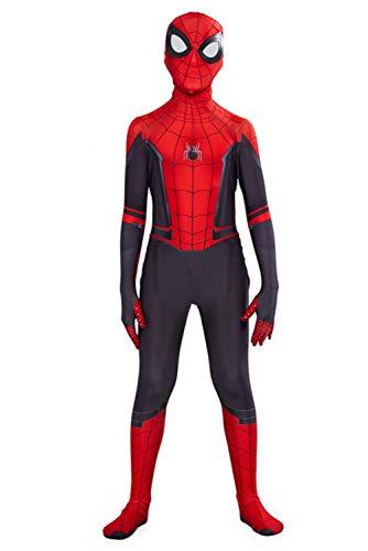 CHECKIN Toddler Kids Spider Verse Miles Morales Gwen Jumpsuit Bodysuit Black Spider Tights Zentai Costume (Child XXL/140-150CM, Peter Parker) -