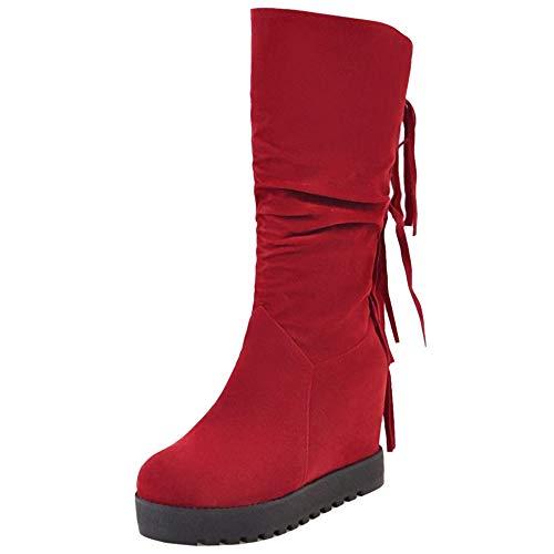 Femme rouges Vulusvalas confortables Bottes frisées compensées PxwdqwBZp
