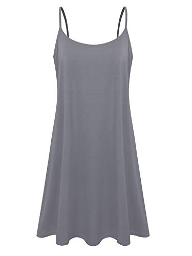 Plus Size Women's Casual Spaghetti Loose Swing Slip Dress(Gray,5X)