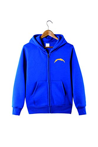 Men's Hooded Long Sleeve Letters Print San Diego Chargers Football Sports Solid Color Zipper Hoodies(3XL,Blue) ()