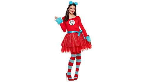 Dr. Seuss Thing 1 & 2 Adult Tutu Dress Deluxe Costume for Dr. Seuss's Birthday (Large) Red