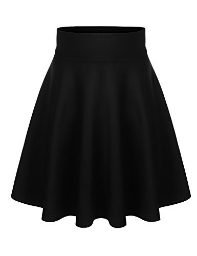 BIADANI Women Versatile Flared Stretch Wide Band Skater Skirts