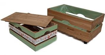 Juego de 2 Jardinera madera cajas con pantalla verde madera – Cesta decorativa (Caja de