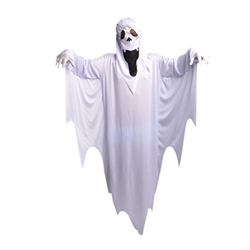 Halloween Cosplay Masquerade Cloak White Ghost Costume Suit Ghost Costume+Glove as pic Adult Size -