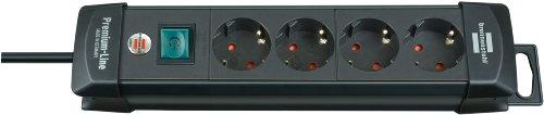 Brennenstuhl Premium-Line Steckdosenleiste 4-fach schwarz mit Schalter, 1951140100
