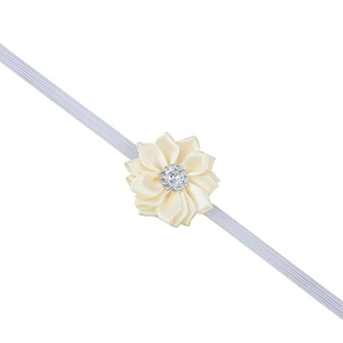 Beaded Flower Trim Accessory (Baishitop 1PC Baby Girls Polygonal Flower HairBand, Cute Headband For Baby Girls (Beige)