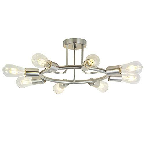 (BONLICHT 8-Light Sputnik Chandelier Brushed Nickel Semi Flush Mount Ceiling Light Industrial Vintage Light Fixtures for Kitchen Living Room Dining Room Bed Room Hallway )