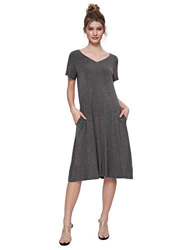 Weintee Women's T-Shirt Dress V-Neck Casual Dress with Pockets M Deep Gray