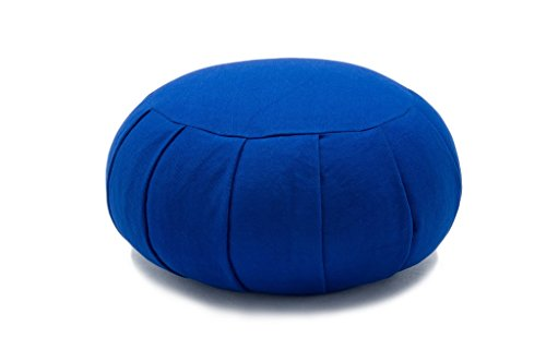 (Royal Blue Deluxe Kapok Filled Zafu Meditation Cushion Yoga Pillow)