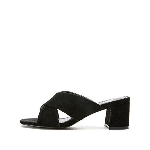 piatti alti Sandali tacco estivi 38 con DHG casual Sandali Pantofole Tacchi basso da Sandali donna Nero moda basso alla a tacco Uqv8W7qSw